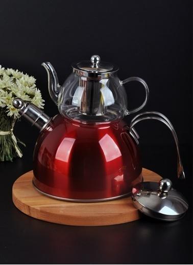 Bayev Düz Renk Düdüklü Cam Çaydanlık-200600 Kırmızı
